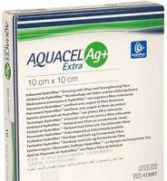 """Aquacel AG+ Extra Silver Hydrofiber Wound Dressing 10cm x 10cm  4"""" x 4"""" 413567"""
