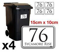 x4 WHEELIE BIN NUMBERS CUSTOM HOUSE AND ROAD STREET NAME STICKERS A6 - BN-28B