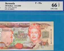 BERMUDA-100 DOLLARS-2000-PICK 55a-LOW S/N 000813 **WBG 66 TOP GEM UNC**