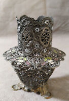 Antique Pewter Filigree Enameled Vanity Hatpin Holder
