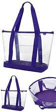 Large Clear Plastic Tote Bag Zipper Closure Prpl Sturdy Grocery Plastic Handbag