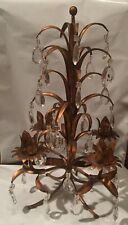 "Stunning Vintage Candelabra With Crystals 16"" Table Sconce Candle Holder"