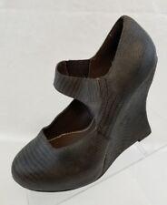 Bacio 61 Piccolo Mary Jane Platform Wedge Womens Green Leather Slip On Shoes 9.5