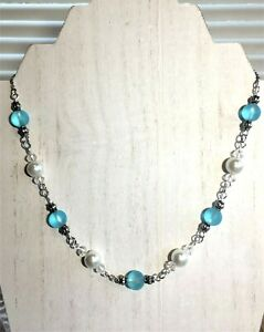 Sea Glass Necklace Aqua Blue Sea Glass & Pearl Beaded Necklace, Handcrafted