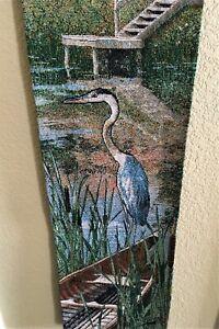 "Tapestry Wall Door Hanging 8"" x 39"" Serene Symbolic Blue Heron"