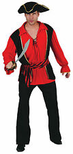 Mens Waistcoat, Shirt & Hat Black & Red Pirates Fancy Dress Costume Outfit New