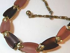 """Vintage 1950' Thermoset Brown Pink Lucite Gold Tulip 16"""" Necklace LISNER 1c 73"""