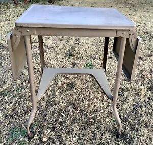 VTG Mid Century Modern Brown Drop Leaf Rolling Typewriter Stand Table cart