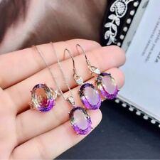 Natural Ametrine Quartz 925 Sterling Sliver Pendant Ring Earrings Set Gift