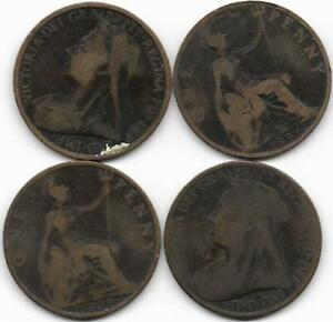 1899 British old & worn penny.    (40)