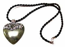 Irish Connemara Marble Heart Necklace on Silk Cord by J. C. Walsh & Sons