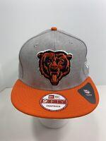 New Era 9FIFTY Gray/Orange Snapback Chicago Bears Flat Bill Cap, NEW!