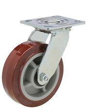 "Caster Swivel Plate: 4x4-1/2. Polyurethane Wheel: 6"" x 2"". Roller Bearing."