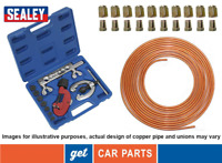 Copper Brake Pipe Line Kit (Plus 10 x Nuts, SEALEY Flaring & Cutting Kit) AK506