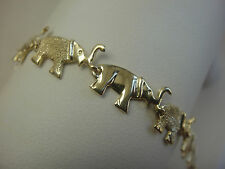 14K 14 K SOLID YELLOW GOLD ELEPHANT CHAIN LINK BRACELET W/ BRUSHED DESIGN