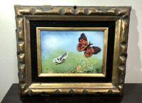 RARE Vintage Enamel on Copper Painting by BENET Butterflies In The Field, MINT !