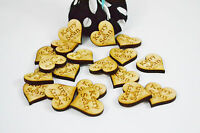 x50 Personalised Wooden Hardwood Hearts 25mm, Favours, Vintage Wedding