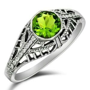 1CT Peridot 925 Solid Sterling Silver Art Deco Style Ring Jewelry Sz 7, FL14