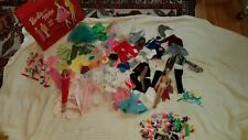 Huge Lot Vintage Barbie And Midge Clothes Accessories And Case Black Lable!