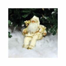 Kingfisher 43cm Decorative Plush Sitting Father Christmas Santa in White/Cream