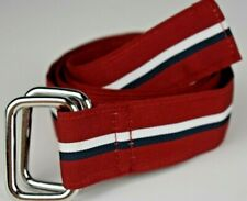 NWT Brooks Brothers Double D-Ring Ribbon Belt Grosgrain Red White & Blue Stripe