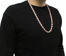 "Mens Dookie Rose Gold Plated 10mm Rope Chain Necklace 30""  hip hop"