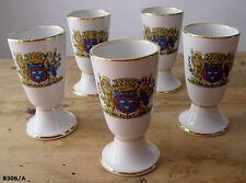 5 jolis mazagrans en porcelaine régionale du Berry