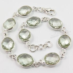 925 Sterling Silver Bracelet Natural GREEN AMETHYST Gemstone Jewelry 8 1/8 Inch