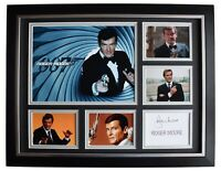 Roger Moore Signed Autograph 16x12 framed photo display James Bond 007 Film COA
