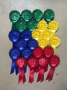 ROSETTES in stock - 1 tier - 6 x 1st to 4th READY TO GO!