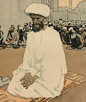Islam prayers Mosque crowd c.1911 Art Nouveau Jugendstil old color print