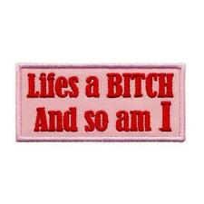 """LIFE'S A BITCH AND SO AM I IRON ON PATCH 3"""" Funny Embroidered Applique Pink Red"""