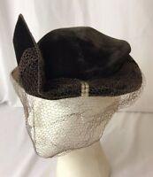 Vtg Womens Hat Dressy Fascinator Pillbox Velvet Beret Art Deco 1920s 30s 40s