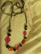 Multicoloured Plastic Bead Necklace on Ribbon - long adjustable length