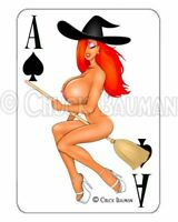 Playing card style decal sexy Jessica Rabbit Halloween Witch pin-up sticker R