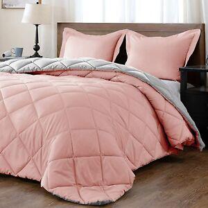 Downluxe Reversible Pink/Grey Microfiber Down Alternative Comforter Twin Set