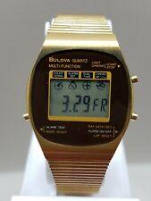 Vintage Bulova Digital LCD Multi-Function Dual Time Alarm Chrono Watch - Read