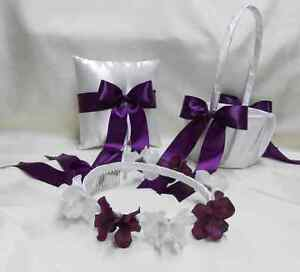 Wedding Accessories Purple Plum Flower Girl Basket Halo Ring Pillow Your Colors