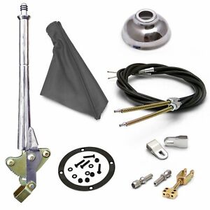 FORD 11 Trans Mnt E-Brake HandleGray Boot, Cap, Blk Ring, Cable Kit Clevis