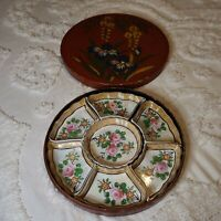 Vintage Luster Ware Serving Condiment Dish Set in Handpainted Lacquered Wood Box