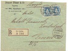 SWITZERLAND 1907 REGISTERED ST GALLEN TO DESSAU COVER DATED: 23.VII.07