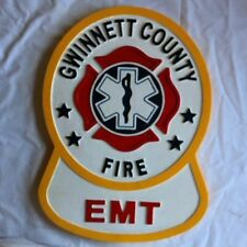 Fire Department Gwinnett County EMT 3D routed wood patch plaque sign New