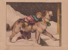 SAINT BERNARD DOG CARRYING BOY TO SAFETY IN SNOW STORM ANTIQUE LITHOGRAPH 1865