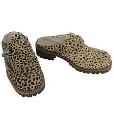 Geier Wally Austria Clog 39 8 - 8.5 Beige Suede Leather Leopard Clip Buckle Shoe