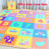 10PC Baby Soft EVA Foam Play Mat Alphabet Numbers Puzzle DIY Toy Floor Tile Game