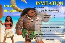 5 - 12 - 14 ou 30 cartes invitation anniversaire vaiana REF 416
