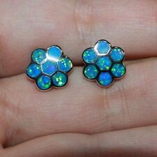 1 pair fire opal earrings gemstone silver jewelry flower cocktail stud style G45