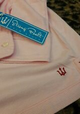 Strong Boalt Mens L/S Pencil Striped Polo Shirt Pink White Palm Beach S $79 NEW