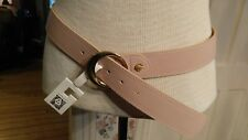 Anne Klein Womens Pink thin faux leather belt with gold buckle size L NWT