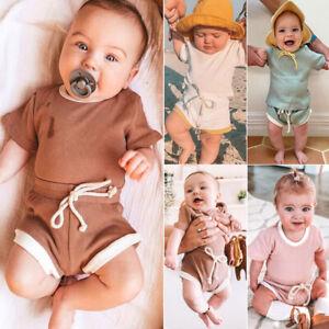 Color Stylish Color Clothes Cotton Tops+shorts Pants UK Kids Baby Boy Girl Plain